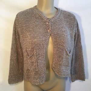 Peruzzi Italy Taupe Knit Cropped Cardigan Sweater